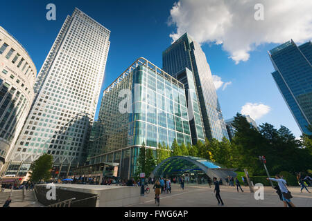 Skyscrapers at Canary Wharf, Docklands the heart of the financial district of London with London Underground entrance - Stock Photo
