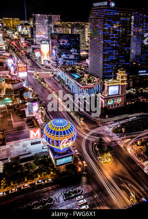 Las Vegas at night from the replica Eiffel Tower - Stock Photo