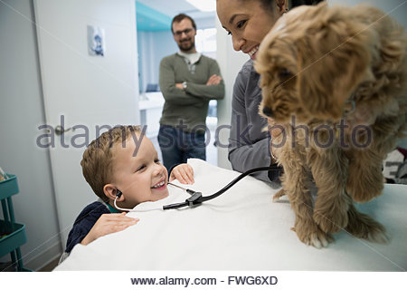 Smiling veterinarian and boy with stethoscope examining dog - Stock Photo