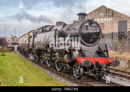 Princess Elizabeth class tank engine on he East Lancs Railway. No. 80080 pictured at Heywood station. - Stock Photo