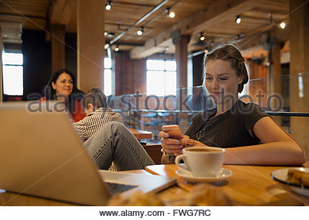 Young woman texting at laptop in cafe - Stock Photo
