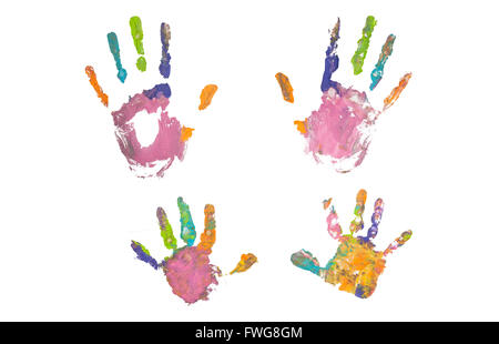 blue hand footprint colorful hand prints of mother and kid on white background set of rainbow colored hand