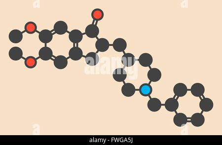 Donepezil Alzheimer's disease drug molecule Stylized skeletal formula (chemical structure) Atoms are shown as color - Stock Photo
