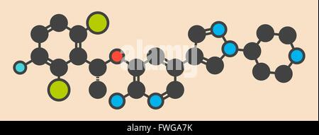 Crizotinib anti-cancer drug molecule Inhibitor of ALK and ROS1 proteins Stylized skeletal formula (chemical structure) - Stock Photo