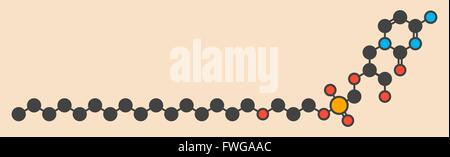 Brincidofovir antiviral drug molecule Prodrug of cidofovir Stylized skeletal formula (chemical structure) Atoms - Stock Photo