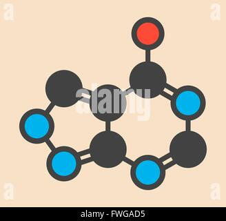 Allopurinol gout drug molecule Stylized skeletal formula (chemical structure) Atoms are shown as color-coded circles: - Stock Photo