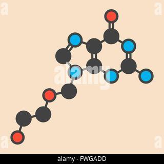 acyclovir (aciclovir) antiviral drug molecule Used in treatment of herpes simplex virus (cold sores) herpes zoster - Stock Photo