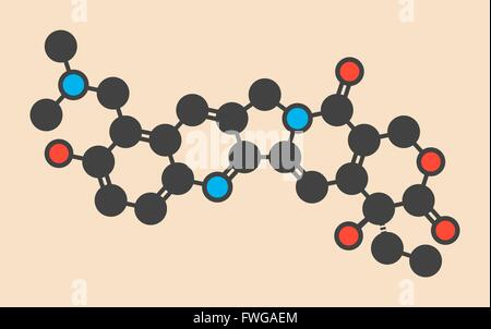 Topotecan cancer drug molecule (topoisomerase I inhibitor) Stylized skeletal formula (chemical structure) Atoms - Stock Photo