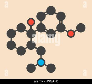Tramadol opioid analgesic drug molecule Stylized skeletal formula (chemical structure) Atoms are shown as color - Stock Photo