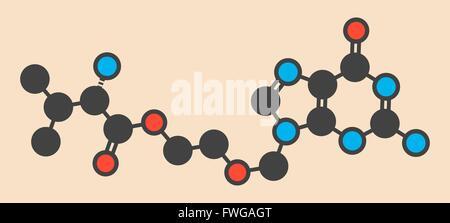 Valaciclovir (valacyclovir) herpes infection drug molecule Stylized skeletal formula (chemical structure) Atoms - Stock Photo