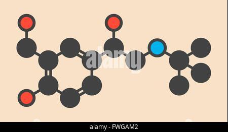 Salbutamol (albuterol) asthma drug molecule Often administered via inhaler Stylized skeletal formula (chemical structure) - Stock Photo