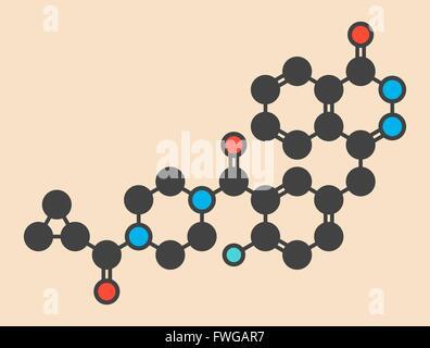 Olaparib cancer drug molecule Inhibitor of PARP (poly ADP-ribose polymerase) Stylized skeletal formula (chemical - Stock Photo