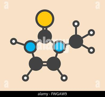 Methimazole hyperthyroidism drug molecule Stylized skeletal formula (chemical structure) Atoms are shown as color - Stock Photo