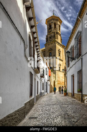 Conde Romanones street, in background Old University building, Baeza Jaen province, Andalucia, Spain - Stock Photo