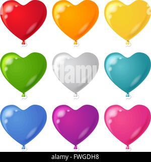 Balloons, heart shaped, set - Stock Photo