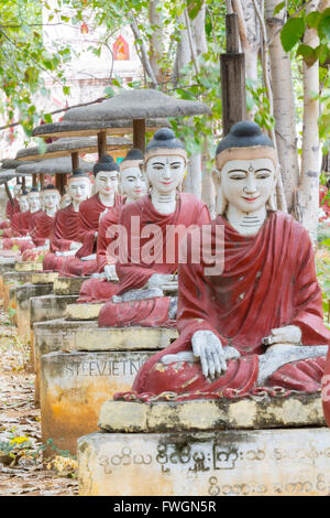 Thousands of sitting buddhas in the park of a thousand bodhi trees - Maha Bodhi Ta HtaungHtaung, Monywa, Sagaing, - Stock Photo