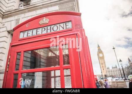 Red Telephone Box and Big Ben (Elizabeth Tower), Houses of Parliament, Westminster, London, England, United Kingdom, - Stock Photo