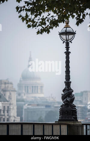 St. Paul's Cathedral, seen from South Bank, London, England, United Kingdom, Europe - Stock Photo