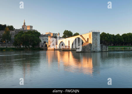 Bridge St. Benezet over Rhone River, UNESCO, Avignon, Vaucluse, Provence-Alpes-Cote d'Azur, France - Stock Photo