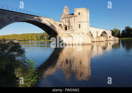 Bridge St. Benezet over Rhone River, UNESCO World Heritage Site, Avignon, Vaucluse, Provence-Alpes-Cote d'Azu, France, - Stock Photo