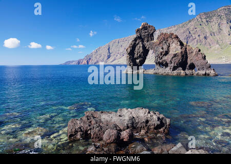 Las Playas Bay with rock arch Roque de Bonanza, UNESCO biosphere reserve, El Hierro, Canary Islands, Spain, Atlantic, - Stock Photo