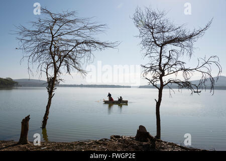 Lake Oloiden near lake Naivasha, Rift valley, Kenya, East Africa - Stock Photo