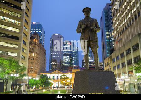 Sir William Glasgow Statue on Post Office Square, Brisbane, Queensland, Australia, Oceania - Stock Photo