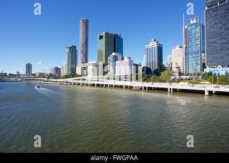 City Skyline from Victoria Bridge, Brisbane, Queensland, Australia, Oceania - Stock Photo