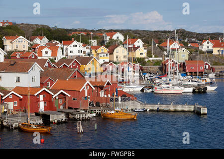Falu red fishermen's houses in harbour, Halleviksstrand, Orust, Bohuslan Coast, Southwest Sweden, Sweden, Scandinavia, - Stock Photo