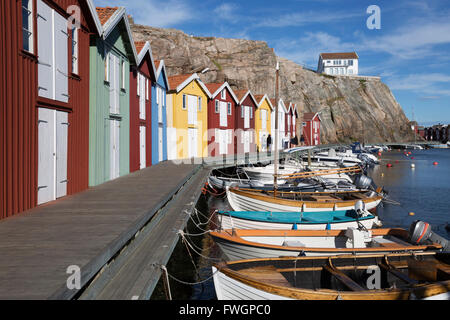 Traditional falu red fishermen's houses in harbour, Smogen, Bohuslan Coast, Southwest Sweden, Sweden, Scandinavia, - Stock Photo