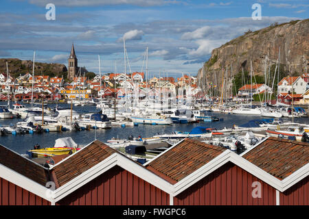 View over harbour and Vetteberget cliff, Fjallbacka, Bohuslan Coast, Southwest Sweden, Sweden, Scandinavia, Europe - Stock Photo