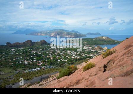 Porto di Levante and Vulcanello view, Vulcano Island, Aeolian Islands, UNESCO, north of Sicily, Italy - Stock Photo