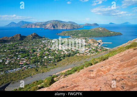 Porto di Levante and Vulcanello view, Vulcano Island, Aeolian Islands, UNESCO, north of Sicily, Italy - Stock Photo