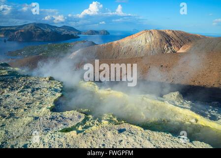 Gran Cratere (The Large Crater), Vulcano Island, Aeolian Islands, UNESCO, north of Sicily, Italy, Mediterranean - Stock Photo