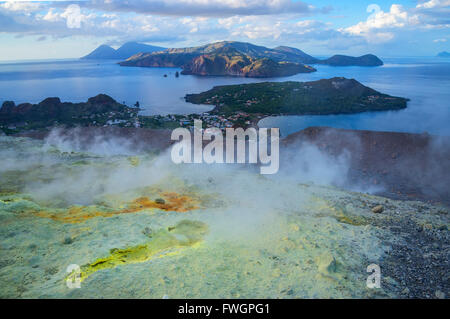 Gran Cratere (The Great Crater) and Aeolian Islands view, Vulcano Island, Aeolian Islands, UNESCO, north of Sicily, - Stock Photo