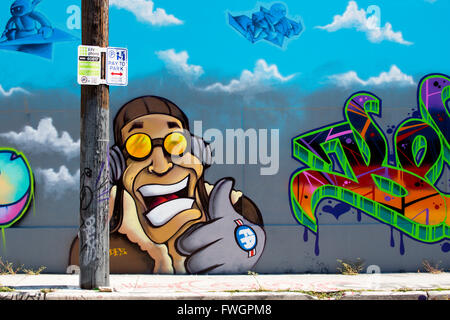 Graffiti street art in the Wynwood Art District of Miami, Florida, United States of America, North America - Stock Photo