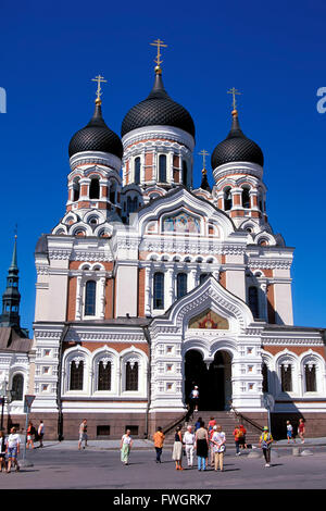 Alexander-Nevski-Cathedral on Toopmea hill, Tallinn, Estonia, Europe - Stock Photo