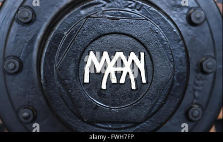 Munich, Germany. 04th Apr, 2016. A historical logo of lorry manufacturer MAN, in Munich, Germany, 04 April 2016. Photo: PETER KNEFFEL/dpa/Alamy Live News