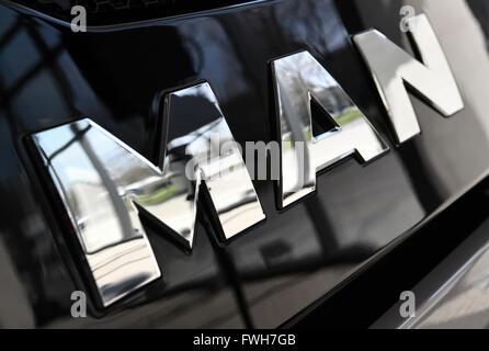 Munich, Germany. 04th Apr, 2016. A corporate logo of lorry manufacturer MAN, in Munich, Germany, 04 April 2016. Photo: PETER KNEFFEL/dpa/Alamy Live News