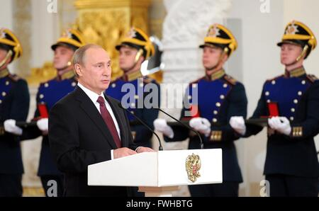 Russian President Vladimir Putin during a ceremony presenting the Russian Federation National Awards at the Kremlin - Stock Photo