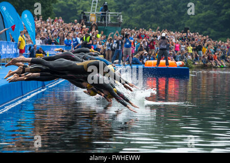 Leeds, UK. 12th June, 2016. Start of the womens elite triathlon at Roundhay Park in Leeds.  The First time leeds - Stock Photo
