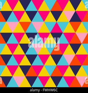 Geometric seamless pattern. Colorful triangle shape vibrant summer style background. EPS10 vector. - Stock Photo