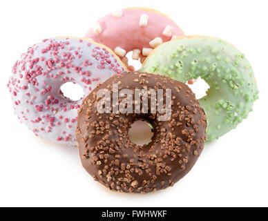 glazed donuts isolated on the white background. - Stock Photo