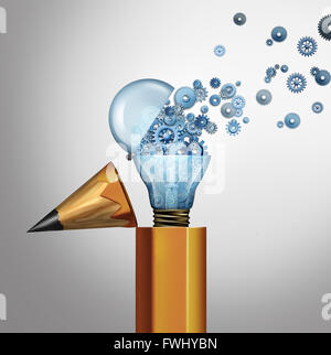 Planning and imagination success business concept as an open pencil with an open light bulb spreading gears and cog wheels as an innovation and bright leadership idea as a 3D illustration icon.