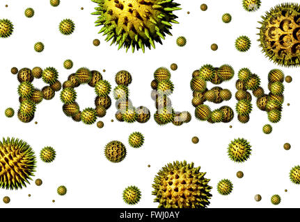 Pollen grains concept as a group of microscopic organic pollination particles shaped as text as flowering plants flying in the air as a health care 3D illustration symbol of seasonal allergies and suffering from hay fever allergy.