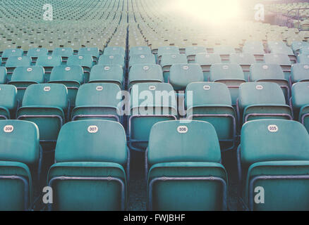 Empty Blue Chairs At Theater - Stock Photo
