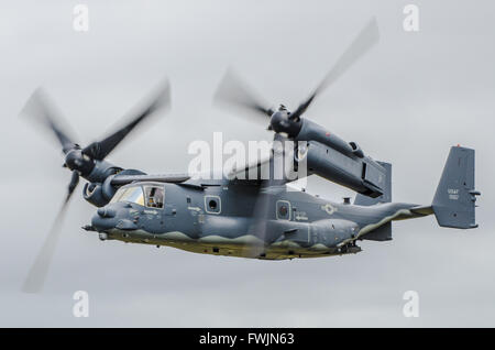 Bell Boeing V-22 Osprey is an American multi-mission, tiltrotor military aircraft with both a vertical takeoff and - Stock Photo