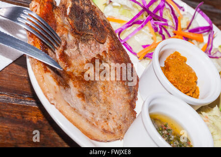 Grilled Pork Steak With Mashed Potatoes, Honey Mustard And Chimichurri Sauce - Stock Photo