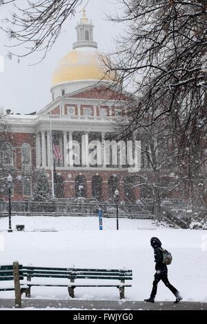 Snowfall, Boston Common, Massachusetts Statehouse - Stock Photo