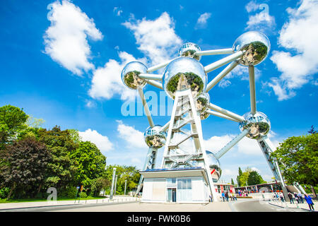 Brussels, Belgium - May 16, 2014: The Atomium is a building in Brussels originally constructed for Expo 58, the - Stock Photo